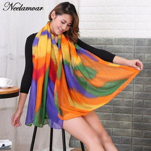Wholesale- Fashion stripes colorful scarf Women voile Wrap shawl Lady winter warm scarves echarpes pareo bufandas Autumn and Winte