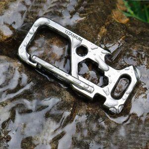 Titanium TC4 Portable Mechanic Key Chain Carabiner Outdoor Camping Multi EDC Tools Bottle Opener Wrench Screwdriver