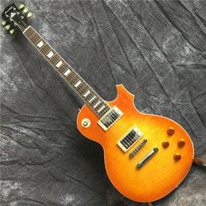 Yeni standart LP ÖZEL MAĞAZA elektro gitar, kaplan deseni standart, masif ahşap maun gerçek fotoğraf görüntüleme