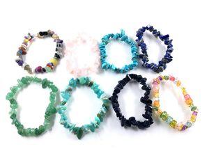Bracciale di cristallo naturale guarigione multi colori della pietra preziosa 15-18cm tratto braccialetto braccialetto di pietra naturale Mixed Chakra della pietra preziosa Bracciale