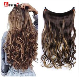 """22 """"Invisible Wire No Clips In Extensions de cheveux Secret Fish Line Hairpieces Extensions de cheveux synthétiques droits ondulés"""