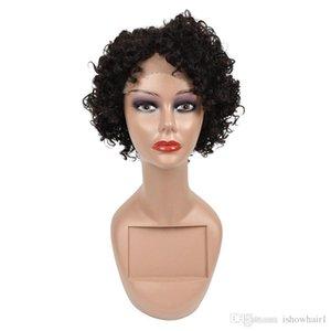 Capelli corti parrucche del Virgin del brasiliano capelli crespi ricci parrucche del merletto dei capelli umani parrucche 10inch Per Black Women svizzero