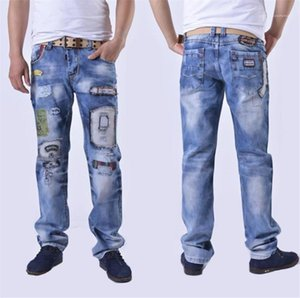 Designer Jeans Fashion Casual Patchwork Washed Loose Zipper Fly Mid Waist Jeans Mens Clothing Hole Straight Mens