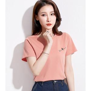 GGRIGHT été rose broderie femmes T-shirt à manches courtes T-shirt Femme 2020 T-shirt Coton coréenne Femme Vetement Harajuku
