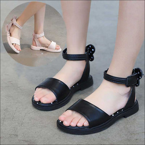 Girls' Sandals 2020 Summer New Korean Soft Bottom Bow Girl Princess Shoes Fashion Anti Slip Beach Shoes Kids Leather #17
