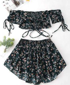 Sexy femmes robe été impression Tube Top en dentelle hors épaule petit costume floral coupé chemise soutien-gorge mini jupe moulante dames robe de soirée vêtements