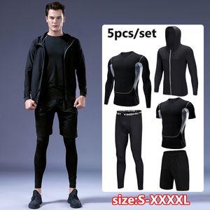 Trainingsanzug Sportanzug Gym Fitness Kompressionskleidung Laufen Joggen Sport Tragen Übung Workout Strumpfhose 5 Teile / satz