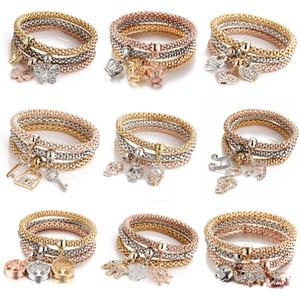 3 couleur / set arbre de vie bracelets femmes Crystal Crown symbole musical éléphant serrure à clé hibou charme Wrap bracelet pour hommes bijoux en vrac