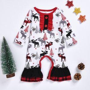Noel Bebek Kız Erkek Ekose Harf Romper Bebek Kafes Tulumlar 2019 Sonbahar Noel Butik Çocuk Tırmanma Giyim yazdır