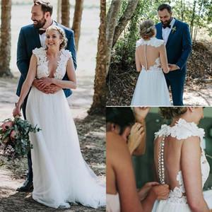 Country Wedding Dresses 2020 O Neck Sweep Train Appliques Illusion Bodice Beach Garden Bridal Gowns robes de mariée