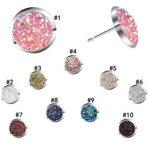 Kadınların Bayanlar Moda Takı Yuvarlak Yuvarlak Doğal taş Küpe Bling Luxury Tasarımcı Druzy saplama Küpe 10 renk