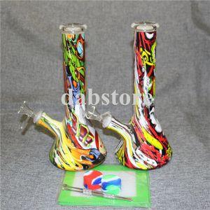 Glas Bongs Beaker Bong 4mm Dicke Glaswasserpfeifen Bohrinsel Shisha Mit 14 mm Male Joint Glasschüssel