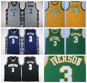 Université Georgetown Hoyas Université Jersey Iverson Jersey 3 Hommes Bethel Basketball Iverson High School Maillots Vert Blanc Gris Jaune Noir