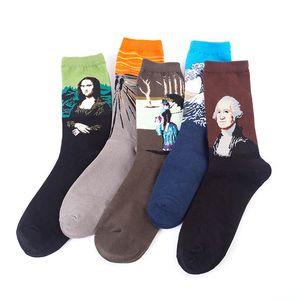 Hombres mujeres calcetines navideños retro abstracto pintura al óleo arte calcetines zapatillas parejas otoño calcetines cortos van gogh mona lisa sneaker medias 2020
