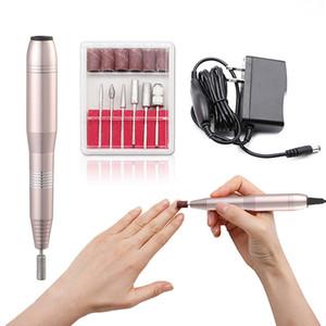 UK   EU   US plug Professional Electric Nail Drill Pen 6 Bits Nail Nursing Kit Manicure Polish Machine Nail Art Tool