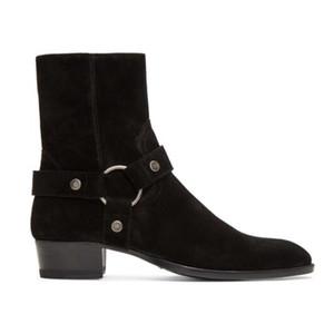 Man Slp Black Suede Wyatt Harness сапоги Harness стиле лодыжки ремень серебряный тон Оборудование Kanye West Paris Fashion Boots ботинки