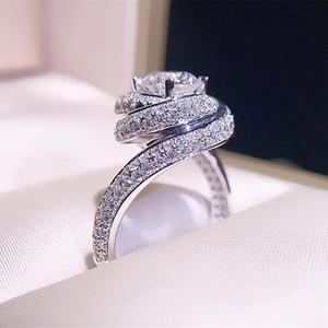 Boyutu 5-10 Choucong Marka Lüks Takı 925 Ayar Gümüş Yuvarlak Kesim Beyaz Topaz CZ Elmas Kadınlar Düğün için Çapraz Bant Yüzük Lovers 'Hediye