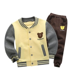 TBwish children's clothing sets 2018 autumn new boys Cotton brand long sleeve bear print Jackets + pants SH190907