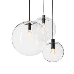 حبل قلادة الأنوار غلوب كروم زجاج الكرة Hanglamp بريقا تعليق أضواء تركيبات مطابخ الرئيسية المعلقة أضواء E27