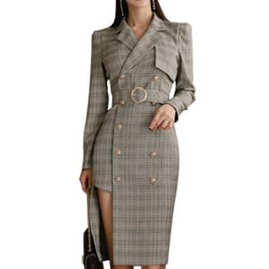 Nuevo Office Lady 2019 Otoño Mujer Chaqueta larga cruzada Traje Collar Blaser Abrigo de manga larga Blazers irregulares