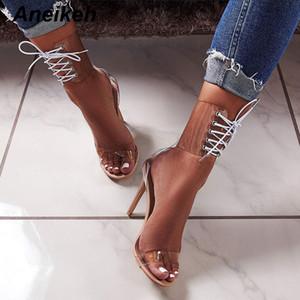 Kadınlar Bayanlar Stiletto topuk Yaz Ayakkabı MX200407 için Aneikeh Gladyatör Şeffaf PVC Peep Toe Lace Up Yüksek Sandalet Seksi Elbise Topuklar