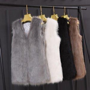 Naiveroo Plus Size 3XL Winter-Sleeveless dünner Weste-Jacken-Mantel-Mode-Pelz-Frauen-Damen-Oberbekleidung Weste Schwarz Grau