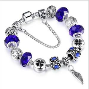 20 cm 925 Sterling Silver Murano Lampwork Contas De Vidro De Cristal Charme Europeu Beads Amor Coração Pingente Serve Para Pandora Diy charme pulseiras