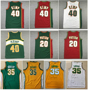 holesale Good Quality Embroidery Ray Allen Gary Vintage Yellow Green Kevin 35 Durant 20 The Glove Gary Payton 40 Reign Man Shawn Kemp Jersey