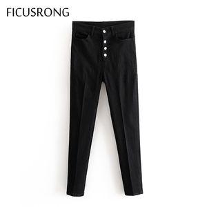 2020 Schwarze Anzughose Frau mit hohen Taille Schärpen Taschen Büro-Damen Mode Jeans dünnen beiläufige Denim-Bleistifthose FICUSRONG