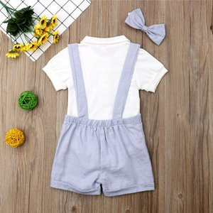 Fashion Baby Boy Summer Clothes Outfits Infant Baby Boy Gentleman Suit Bow Tie Shirt Suspenders Shorts Pants Comfy Outfit Set