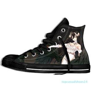Imagem Personalizada Impressão Sneakers Chegada Popular Anime Overlord II Men / Harajuku Estilo Plimsolls lona respirável Andando t14 Plano