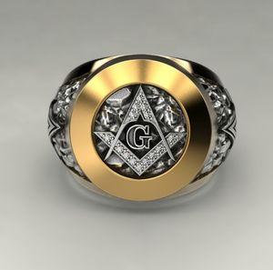 Nuovo anello massonico in acciaio inossidabile 316L da uomo simbolo massonico G Templari Anello massonico Anello massone 7-14