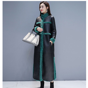 Kadın Kuzu Kürk Ceket 2019 Yeni Kış Artı Boyutu Gevşek Uzun Kürk Iki Yan Giyen Süet Maix Kürklü Ceket Faux Deri