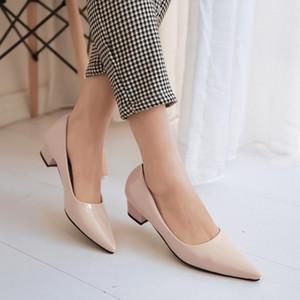 Sıcak Satış Pompaları Patent deri yeni Alçak topuklu Sivri Kadın ayakkabı Büyük 40 41 42 Küçük 33 yüksek topuk 3.7CM EUR Size 32-43