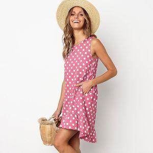 Summer Dress Sleeveless Polka Dot Dress Summer Loose Falbala Dresses Casual Women Clothes Drop Ship 220121