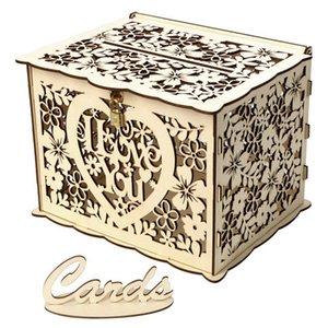 Деревянные DIY Бизнес Nme Crd Приветствие Crd Hollow Crved коробка с ключом Nd 12 Резиновое кольцо для венчания Bnquet Supplies