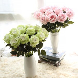New 10pcs lot wedding decorations Real touch material Artificial Flowers Rose Bouquet Home Party Fake Silk single stem Flowers Floral