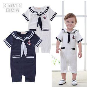 2020 Navy Babies Childrens Clothing Boys Summer Short-Sleeved Romper Scarf Lapel Jumpsuit Romper