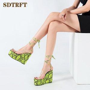 SDTRFT Espadrilles Serpentine shoes woman 13cm wedges Stiletto Platforms Pumps Female Lace-Up cross strap High Heels Sandalias