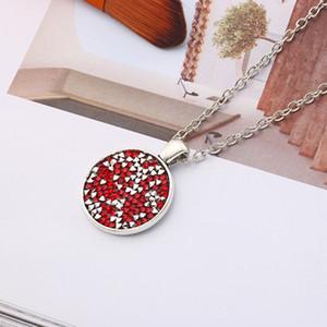 10 yeni Koni renk elmas geometrik yuvarlak Emaye Kristal Zirkon kolye elmas taklidi Karikatür Kawaii Taşlı Renkli hediye takı