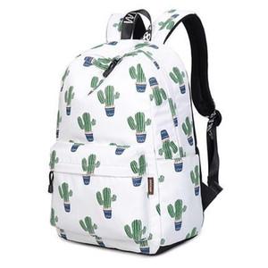 Designer-Inch Waterproof Mulheres Backpack bonito Pattern Flamingo e Cactus Impressão Feminino de Grande Capacidade Knapsack