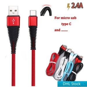 DHL da DHL livre da alta resistência USB Cable 1m 3 pés 2A carregamento sincronização carga de dados cabo USB tipo C cabos para telefone S10 NOTA 10 mais