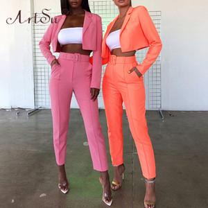 Artsu 2019 dos mujeres Moda Otoño juego de piezas rosa amarillo-naranja chaqueta corta y un lápiz juegos de pantalones Partido Blazer