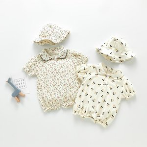 2020 Summer Baby Girls clothes Jumpsuit Climb Print Girls Rompers Cotton+Hat 2Pcs Set 0-3Y Newborn Clothes