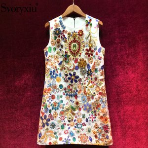Svoryxiu High End Runway-Sommer-Party-Behälter Kurze Kleider Frauen Vintage Barock Printed Kristalldiamant-A-Linie Kleid