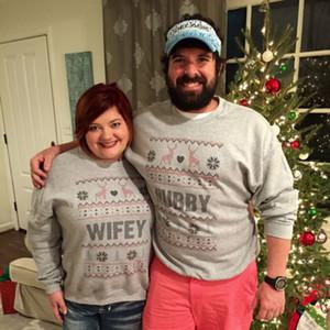 Hirigin 2017 Hässliche Weihnachtss Paare Pullover Hubby Wifey Passende beiläufigen Geliebt-Paar-Kleidung Herbst-Winter-Kleidung