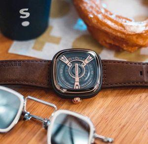 2020 SevenFriday Мужские кожаные часы сплава случая площади набора Handless дизайнера роскошь людей кварцевые часы Student Красивый Релох Подарочные часы