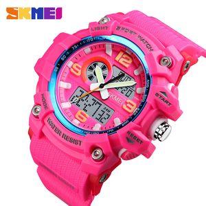 Outdoor Sports Women Watches Fashion Dual Display Digital Wristwatch Outdoor 3 time Ladies Waterproof Watch reloj
