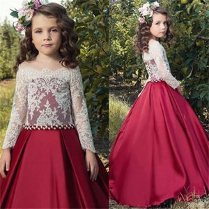 Wine red Satin Cloth Flower Girl Dress For Little Girls First Holy Communion Party Dresses For Wedding Long sleeve Party Dresses