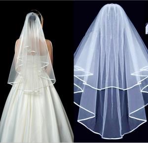 Setwell 2019 Cheap White Ivory Two Layers Edge Ribbon Short Tulle Wedding Veil con peine Accesorio de boda para mujer